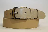 Ремень кожаный класический 40 мм комбинированный в бежевых тонах пряжка хром
