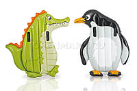 Пляжный надувной детский матрас животные Intex 58151 (114x112 см) Крокодил и Пингвин, надувной плот