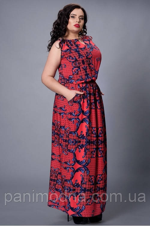 """Легкое платье из штапеля, декорировано модным принтом  - """"Арина""""  код 497"""