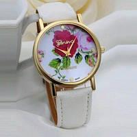 Часы Geneva PLATINUM с розочкой на циферблате.