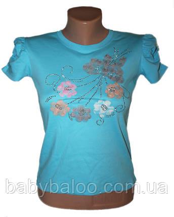 Подростковая классная футболка Flower (рост от 116 см до 152 см), фото 2