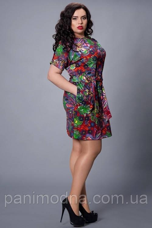 """Модное платье, декорировано принтом и поясом  - """"Марго"""" код 251"""