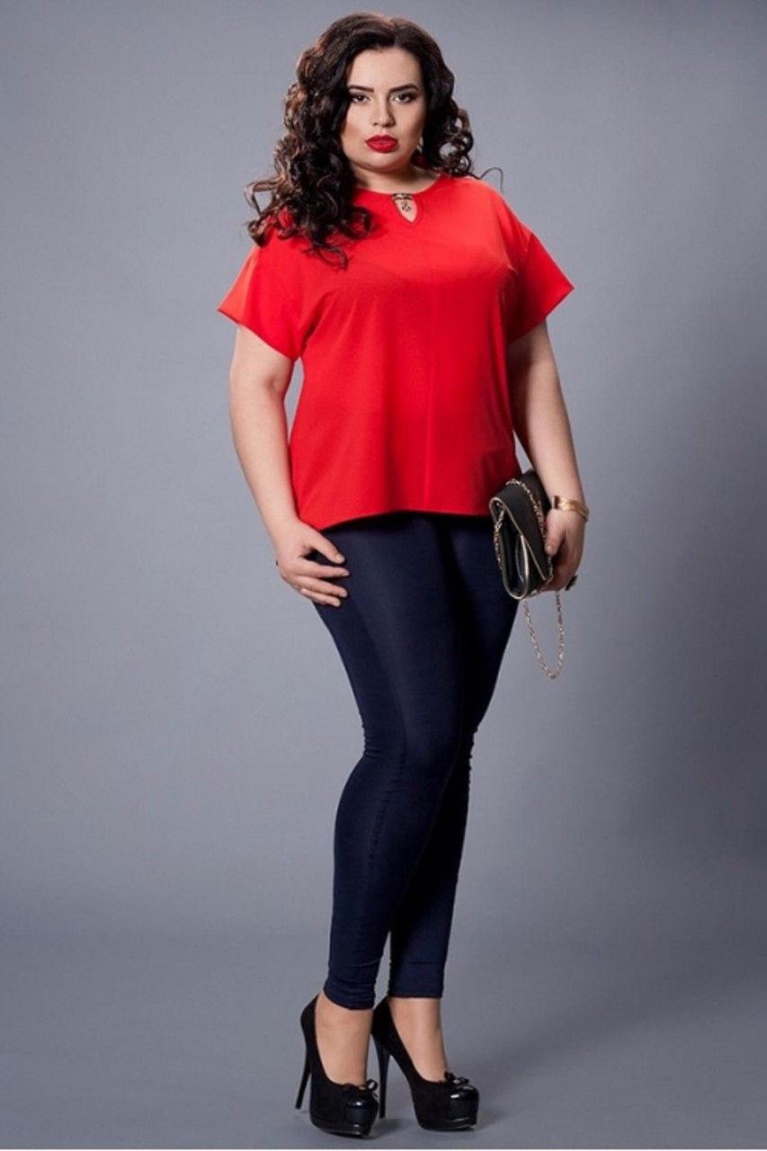 e6eb2ef58d3 Красивая шифоновая красная женская блуза увеличенных размеров ...
