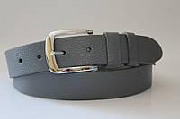 Ремень кожаный класический 40 мм серый текстура ремня свинная кожа пряжка хром