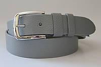Ремень кожаный класический 40 мм текстура ремня свинная кожа цвет серый пряжка хром