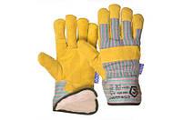 Перчатки рабочие спилковые комбинированные утепленные, фото 1