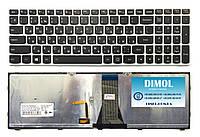 Оригинальная клавиатура для ноутбука Lenovo G50-30 rus, black, silver frame, подсветка