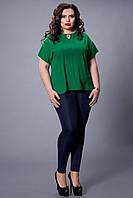 Стильная шифоновая зеленая  женская блуза увеличенных размеров.