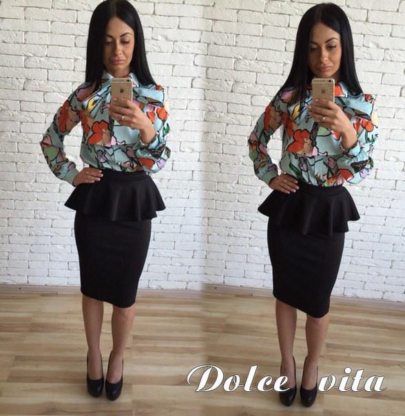 Костюм блуза с принтом+юбка с баской