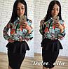 Костюм блуза с принтом+юбка с баской, фото 2