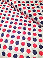 Хлопковая ткань польская крупный горох сине-красный № 219d