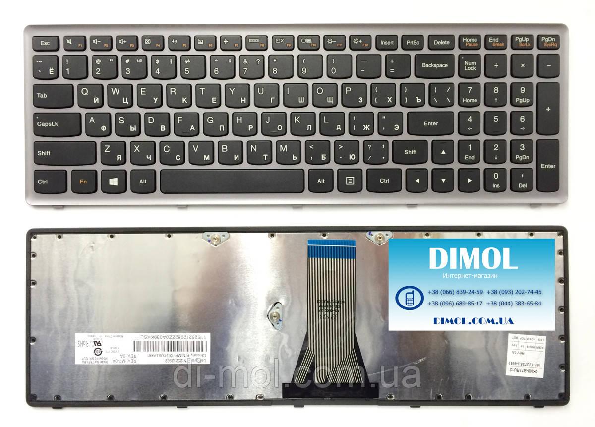 Оригинальная клавиатура для Lenovo IdeaPad Flex 15, Flex 15D, G500s, G505s, S510p, Z510, black, silver frame