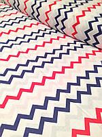 Хлопковая ткань польская зигзаг сине-красный