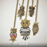 Подвеска модный кулон женский сова Owl на цепочке, подарок на 8 марта