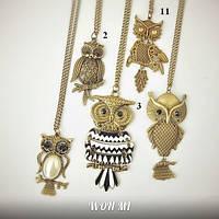Подвеска модный кулон женский сова Owl на цепочке подарок на восьмое марта