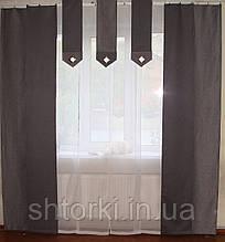 Комплект панельных шторок  серые и белый батист