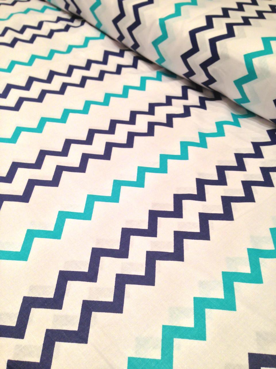 Хлопковая ткань польская зигзаг сине-бирюзовый № 207d