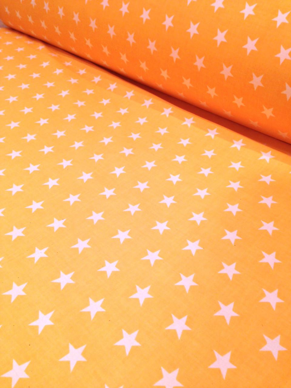 Хлопковая ткань белые звезды на желтом № 109d
