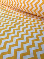 Хлопковая ткань зигзаг желтый № 107d
