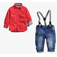 Детский костюм на мальчика (джинсы и рубашка красная)