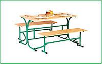 Стол для столовых  раскладными лавочками (покрытие пластик)