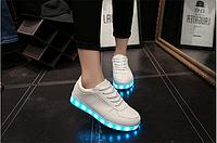 Кроссовки светящиеся низкие белые, фото 1