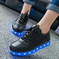 Светящиеся кроссовки LED низкие черные, фото 1