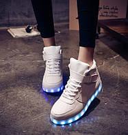 Кроссовки светящиеся высокие белые, фото 1
