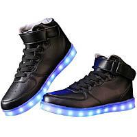 Кроссовки светящиеся высокие черные, фото 1