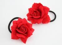 Резинка для волос красная роза