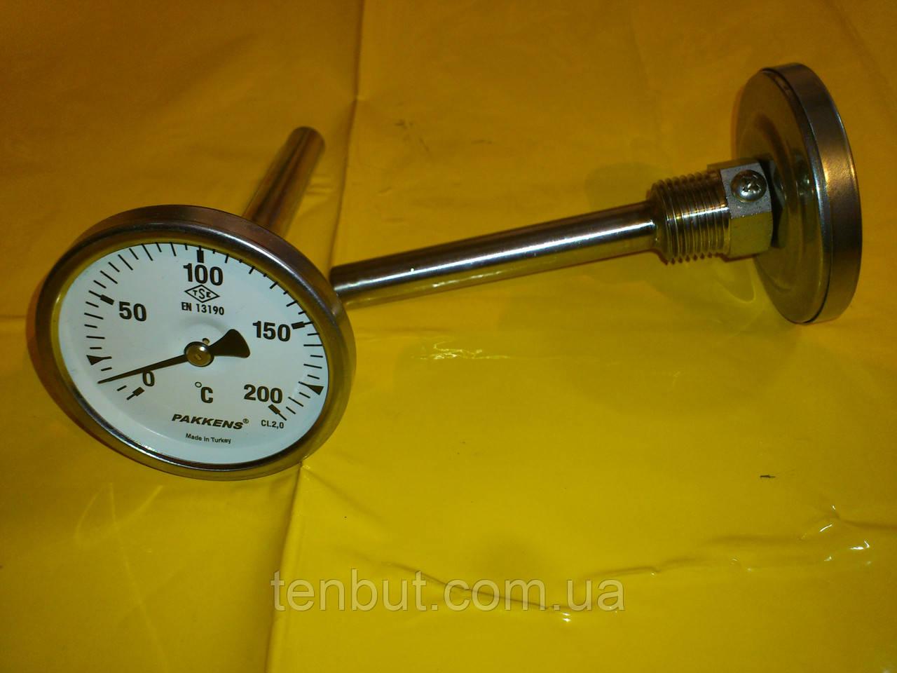 Термометр трубчатый PAKKENS  0-200℃ / диаметр Ø-63 мм./ длина гильзы L 100 мм. производство Турция