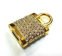 USB Flash замок золотой со стразами флешка подарочная