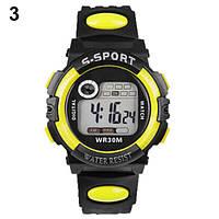 Спортивные электронные наручные часы с секундомером, будильником и подсветкой S-Sport Yellow (∅40 мм)