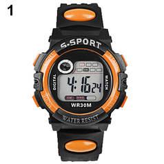 Спортивные электронные наручные часы с секундомером, будильником и подсветкой S-Sport Orange (∅40 мм)