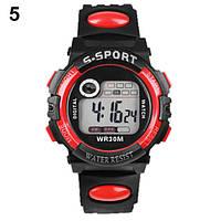 Спортивные электронные наручные часы с секундомером, будильником и подсветкой S-Sport Red (∅40 мм)
