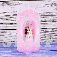 Свеча свадебная семейный очаг, Розовая, 10 х 6 см