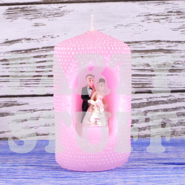 свеча свадебная розовая