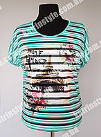 Летняя женская футболка в полоску с рисунком