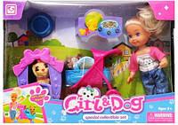 Кукла с коляской и собачкой К899-24