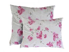 Подушка силиконовая, бязь, Розовые цветы (50х70 см.)
