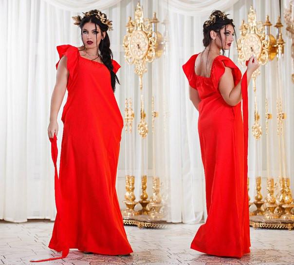 3a011f71bb4 Летнее женское платье длинное в пол большого размера с воланами на плечах