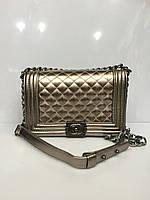 Женская сумка клатч Chanel Boy (Шанель Бой) 1541 стеганая бронзовая