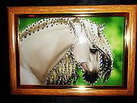 Яркая картина из страз Белый конь 3