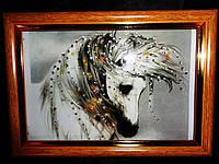 Удивительная картина стразами Белый конь 4