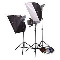 Комплект освещения Powerlux ВЕ - 3 лампы студийные ворота softboxy FsFoto