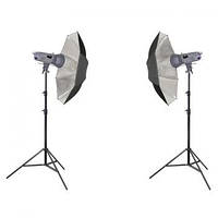 Комплект освещения Powerlux 2xVE-400 - зонтик серебряный и штатив 805 Powerlux