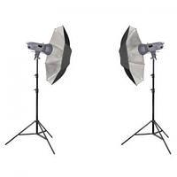Комплект освещения Powerlux 2xVE-300 - зонтик серебряный и штатив 805 Powerlux