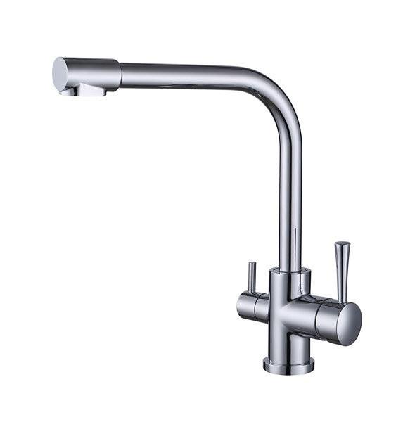 Смеситель для кухни с краном питьевой воды, латунный, однорычажный  KAISER MERCUR 26044 Хром