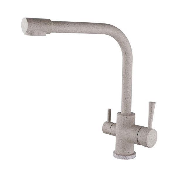 Смеситель для кухни с краном питьевой воды, латунный, однорычажный  KAISER MERCUR 26044-4 Песочный бежевый