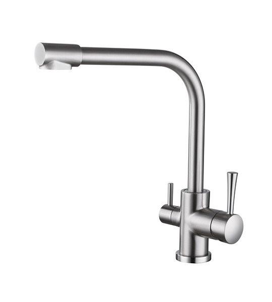 Смеситель для кухни с краном питьевой воды, латунный, однорычажный  KAISER MERCUR 26044-5 Серебристый